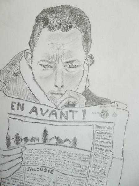 "Albert Camus (dessin) Illustration du poème ""A toi Albert """