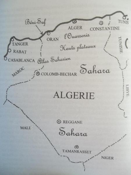 """Carte de l'Algérie extraite de l'ouvrage"""" Demain tu pars en France"""""""