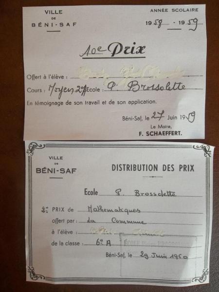 Premier magistrat de Béni-Saf et distribution des prix à l'école P. Brossolette 1959/60