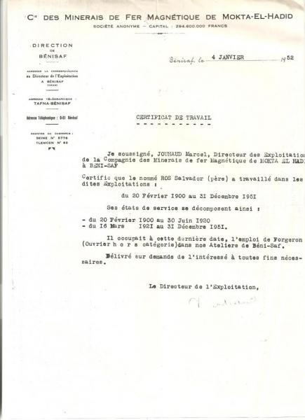 Béni-Saf: certificat de travail (1952) de mon grand-père